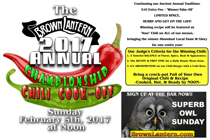 Brown Lantern Annual Chili Cook-Off, Sunday, Feb. 7th, 12pm noon