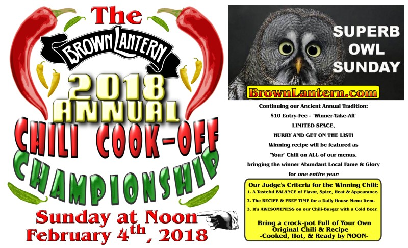 Chili Cookoff, Sunday, February 4th, 2018 @ 12pm
