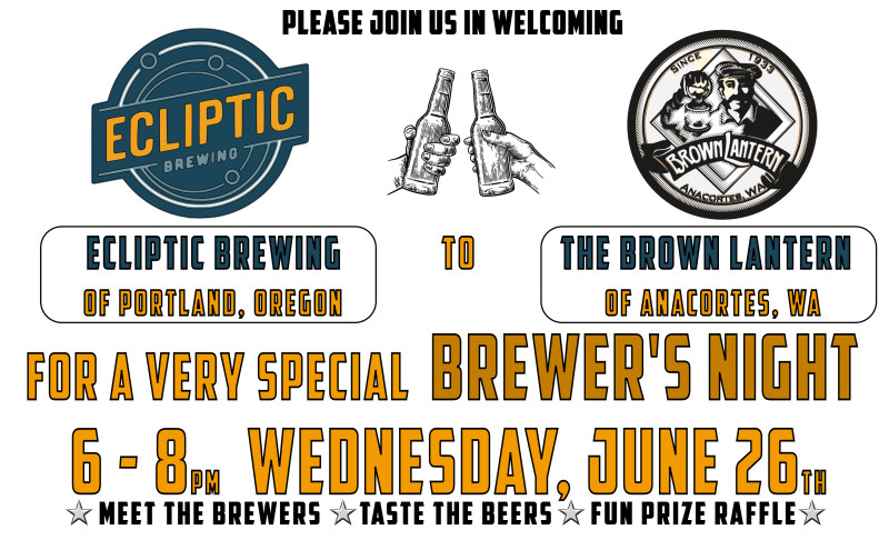 Ecliptic Brewers Night, Wednesday, June 26th, 2019 6-8pm