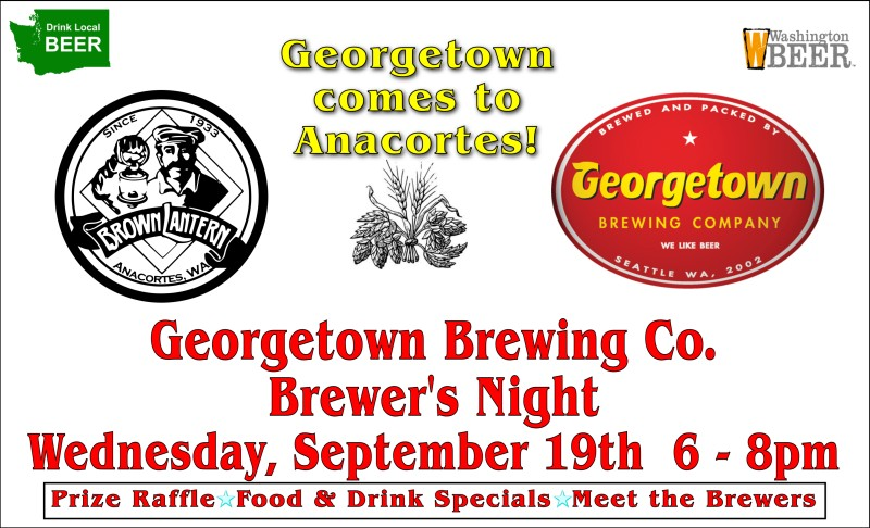 Georgetown Brewing Brewers Night, Wednesday, September 19th, 2018 6-8pm