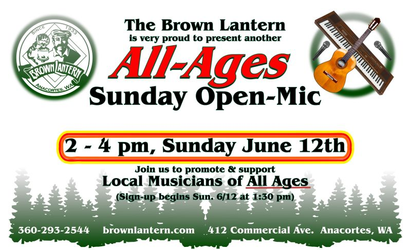 All-Ages Open-Mic, Sunday, June 12th, 2-4pm